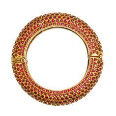 A Gold and Ruby Kundan Style Bangle, Deccan, Mysore 19th Century.