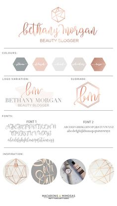Design Studio | Branding | Business Branding | Brand Board | Branding Kit Logo Design | Rose Gold Logo | Blush Pink Teal Color Scheme | Honeycomb Calligraphy Watercolor | Premade Submark Watermark Stamp | Blogger Photography