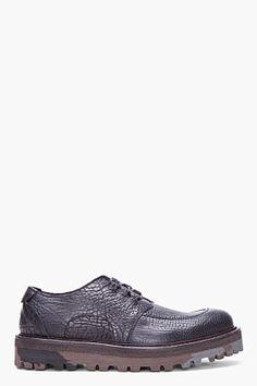 YVES SAINT LAURENT Black Leather Harley Lug Soled Shoes