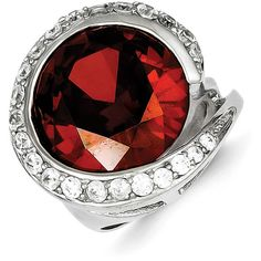 Sterling Silver Red & Clear CZ Ring ($34) ❤ liked on Polyvore featuring jewelry, rings, sterling silver, zirconia rings, polish jewelry, sterling silver cz jewelry, sterling silver rings and sterling silver jewellery