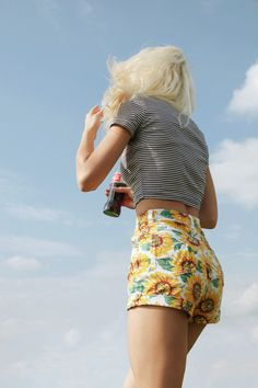 The Sunflower Print Stretch Bull Denim High-Waist Cuff Short.