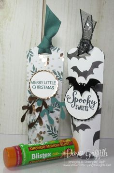 Two for Thursday ~Halloween Chap-stick holder video - Dawn's Stamping Thoughts 3d Christmas, Stampin Up Christmas, Christmas Ideas, Xmas, Dawns Stamping Thoughts, Stamping Up, Scrapbooking, Scrapbook Albums, Scrapbook Supplies