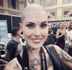 Bald Girl, Facial Piercings, Bald Women, Short Cuts, Dreads, Halloween Face Makeup, Hair Cuts, Shaved Heads, Lady