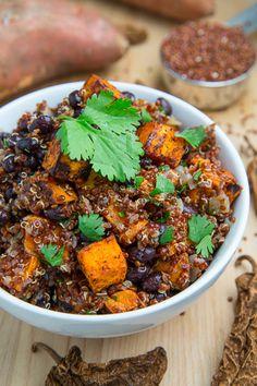 Roast Sweet Potato and Black Bean Quinoa Salad