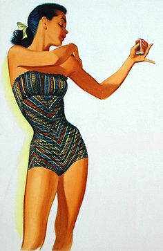 Another vintage pin-up by Pete Hawley Vintage Bathing Suits, Vintage Swimsuits, Bikini Vintage, Pin Up Vintage, Vintage Ladies, Vintage Stuff, Vintage Art, Rockabilly, Rock And Roll
