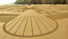 SAND CIRCLE at Brean Beach, Somerset, UK on 7th July 2013.