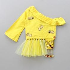 Pre Order: Yellow Knot Top With Dhoti Skirt Kids Blouse Designs, Blouse Designs Silk, Choli Designs, Blouse Patterns, Mehndi Designs, Kids Frocks Design, Baby Frocks Designs, Kids Dress Wear, Kids Wear