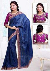 Blue Color Wrinkle Crepe Jacquard Festival & Function Wear Sarees : Navnita Collection  YF-41514
