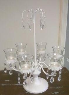 Cream 6 cup glass tealight candelabra/cupcake stand