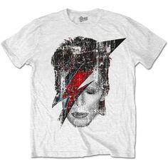 David Bowie Men's Tee: Halftone Flash Face Wholesale Ref:BOWTS17MW