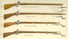 Diversi modelli di moschetto in uso nell'esercito austriaco. Fonte: Die östereichische Armee von 1700-1867 di Oskar Teuber e Rudolf Ottenfeld