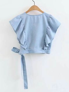 Product name: Surplice Front Ruffle Trim Knot Detail Denim Top at SHEIN, Category: Denim Tops Teen Fashion Outfits, Trendy Outfits, Girl Fashion, Girl Outfits, Fashion Dresses, Cute Outfits, Fashion Quiz, Moda Fashion, Crop Top Outfits