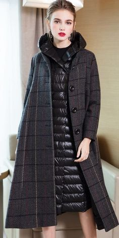 Elegant Women Two Piece Casual Plaid Overcoat With Thin Down Coat Modest Fashion, Fashion Outfits, Womens Fashion, Stylish Street Style, Coats For Women, Clothes For Women, Stylish Coat, Yellow Fashion, Blazer