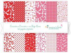 Papeles Digitales - Kit De Corazón a Corazón en Rojo y Rosa - Papeles para Diseño de Tarjetas, Scrapbooking, Diseño Web y más!