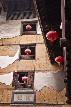 Tulou house and its lanterns. Hakka country, Fujian