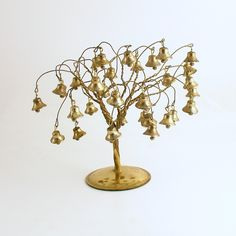 Vintage Christmas Decoration Gold Metal Tree Bells Christmas Village by efinegifts on Etsy