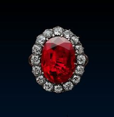 "Queen Marie José Royal Ruby Ring, c. 1870, gold, silver, diamonds, ruby (8.48ct). When Belgian Princess Marie-José married the Prince of Piedmont, future Umberto II in 1930, she received jewellery inherited from his grandmother, Queen Margherita. He chose the ring for Princess, married to the heir to the throne of Italy, for the royal character of the ""pigeon-blood"" ruby from Burma within its diamond frame blended harmoniously with Queen Margherita's bequests."