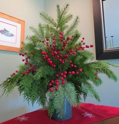 Here is a great alternative to buying a Christmas tree.  Just make a bouquet of mixed evergreen clippings, tie together with wire and place in a weighted vase and fill with water. Add some decoration and you're done.  Good for small spaces or just add some pizzaz to your dining table. Smells great, too!