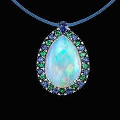 Robert Procop Opal Pendant with tsavorites, sapphires and diamonds