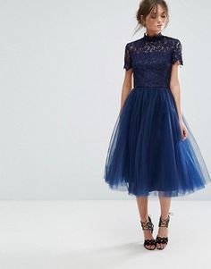 Chi Chi London High Neck Lace Midi Dress with Tulle Skirt: navy Indian Engagement Dress, Engagement Party Dresses, Dresses Short, Dance Dresses, Formal Dresses, Blue Midi Dress, Tulle Dress, Navy Dress, Latest Fashion Clothes