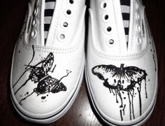 Butterfly Paint Drip Shoes    Painted by Angelika Albaladejo   Vans-Gogh: Hand-Painted Shoes