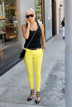 Yolanda Foster--trying to get the Etcetera look with those gorg yellow pants!  Check out our Renegade pants!