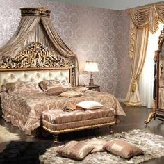 Classic bedroom Emperador Black, carved wood, black and gold leaf finish, carved night table, upholstered capitonné bench, carved mirror on wheels