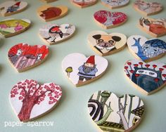 How to make a wooden brooch. Valentines Badges - Step 5