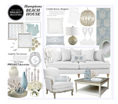 """""""The Hamptons Subtle Beach Retreat"""" by hmb213 ❤ liked on Polyvore featuring interior, interiors, interior design, home, home decor, interior decorating, Surya, Serena & Lily, Diane James and WALL"""
