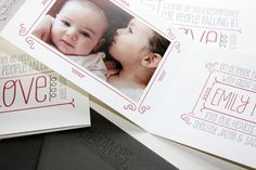 Best of 2013: Baby Announcements / Emily's Whimsical Typography Accordion-Fold Birth Announcements by Albertine Press