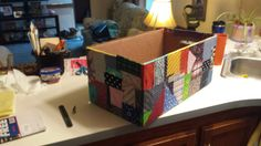 diaper box with fabric mod podged on