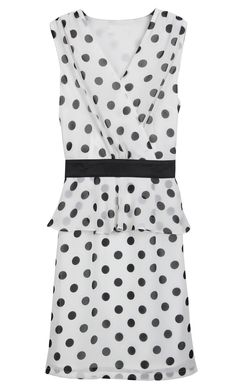 White V Neck Sleeveless Polka Dot Bandeau Dress