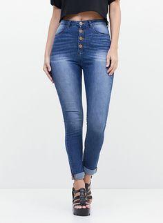 Calça de Cintura Alta em Jeans