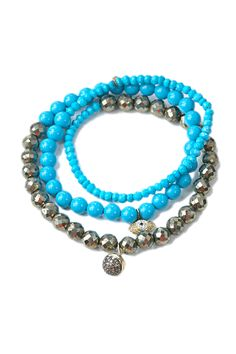 Sydney Evan Turquoise & Pyrite Wrap at Oster Jewelers