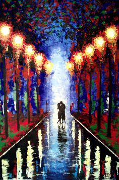 Original Painting Kiss In The Rain - Kissing Couple Acrylic - Blue Red Orange - Abstract Landscape - via Etsy.