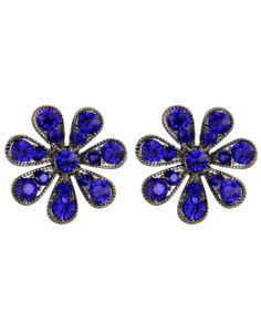 Brinco pequeno de pressão grafite strass azul royal flor