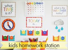DIY Elementary School Calendar (or homework station) with lovely printables and instructions.