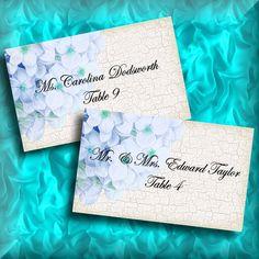 Wedding DIY Blue Hydrangea Escort Card Placecards Template Blank by iDoDiY, $8.00