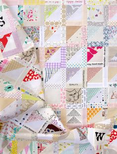 Half Square Triangle Variation Quilt Pattern by redpepperquilts