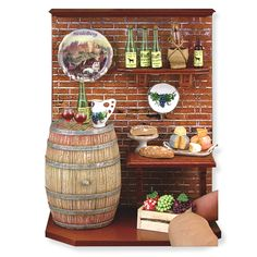 dollhouse miniature Wine Cellar Vignette