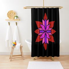 """Lotus Star Design"" Shower Curtain by Pultzar 
