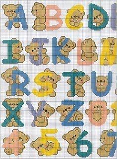 Teddies alphabet and numerals 1 of 2 Crochet Alphabet, Cute Alphabet, Cross Stitch Alphabet, Alphabet And Numbers, Cute Cross Stitch, Cross Stitch Designs, Cross Stitch Patterns, Different Alphabets, Christmas Alphabet
