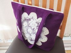 Handbag - purple with cream crochet flower £24.95