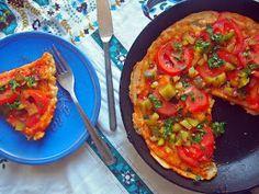 Vege Szamanka: Ekspresowa pizza z patelni (bez drożdży) Food Test, Bruschetta, Healthy Snacks, Ethnic Recipes, Pizza, Health Snacks, Healthy Snack Foods, Healthy Treats, Healthy Shakes