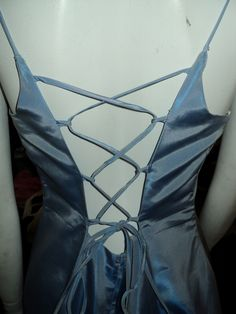 This is the back of the pewter-metallic, taffeta gown.