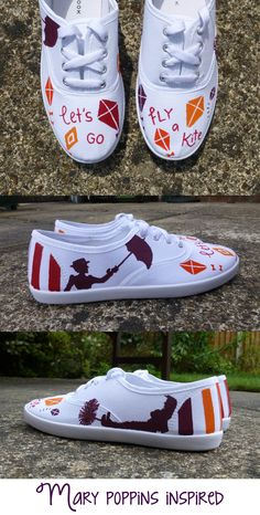 Mary Poppins inspired shoe design (acrylic paint) by Leah Watson 'Lets go fly a kite' Colourful white shoes