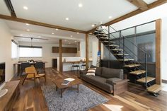 LDK Japanese House, New Homes, Stairs, Living Room, Interior Design, Architecture, Building, Table, Inspiration
