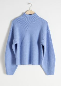 0dd4f9f832c483 Wool Blend Mock Neck Sweater. Beige PulloverBlau ...