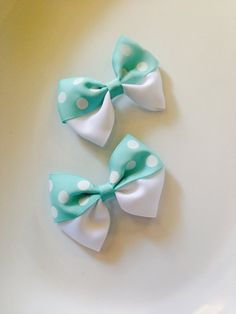 2pc White polka dot and mint ribbon bow , hair bow , hair clip , bow clip  on Etsy, $3.99