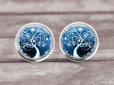 Earrings  Blue Tree of Life 6   12mm Jewelry by MaDGreenCreations, $8.95